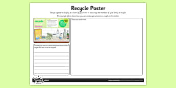 Design a Recycling Poster Worksheet / Activity Sheet - Go Green, Eco, recycle, warrior, environment, worksheet