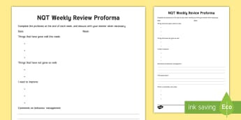 NQT Weekly Review Record - self evaluation, weekly assessment, self assessment, newly qualified teacher, proforma