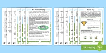 KS1 Sports Day Themed Differentiated Reading Comprehensions Activity Pack - Exercise, Information, Story, Non-fiction, Fiction