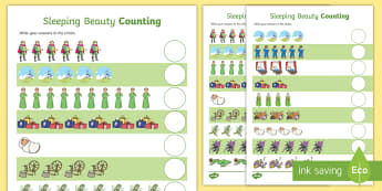 Sleeping Beauty Counting Sheets - one to one, 1-1, sleeping beauty, counting sheets, counting, sleeping beauty counting, themed worksheets, numeracy, adding, plus, numbers