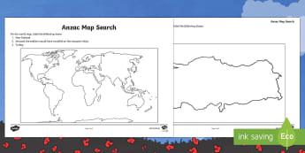 Anzac Troops Mapping Worksheet / Activity Sheet - New Zealand, Anzac Day, 25 April, ANZAC, Poppies, World War 1, World War 2, Gallipoli, Mapping, Sold