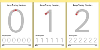 Large Tracing Numbers - Tracing numbers, tracing sheet, 0-9 tracing, 0-9, number formation, number writing practice, foundation stage numeracy, writing, learning to write