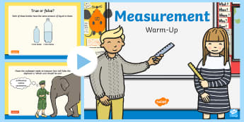 Year 2 Measurement Warm-Up PowerPoint - KS1 Maths Warm Up Powerpoints, Choose and use appropriate standard units to estimate and measure len