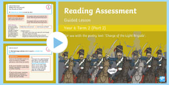 Year 6 Reading Assessment Poetry Term 2 Guided Lesson PowerPoint - Reading Assessment PowerPoints, guided reading, comprehension, reading test, poetry, poem, charge of