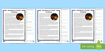 Stonehaven's Fire Ball Ceremony Differentiated Reading Comprehension Activity - New Year, Hogmanay, Scotland, Scottish, traditions, events,Scottish