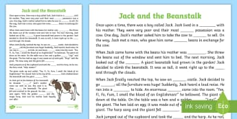 Jack and the Beanstalk Traditional Tale Cloze Procedure Differentiated Worksheet / Activity Sheet Pack, worksheet