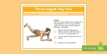 Yoga Three-Legged Dog Pose Step-by-Step Instructions - Yoga, health, stress, calm, peace, KS1, KS2, well being, anxiety, work life balance, WLB