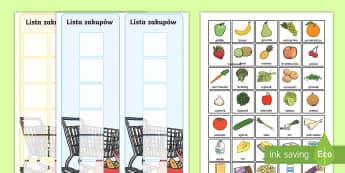 Listy zakupów i karty z jedzeniem - zakupy, sklep, kupowanie, jedzenie, żywność, pożywienie, owoce, warzywa, warzywo, owoc, produkty