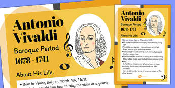 Antonio Vivaldi Display Poster - antonio, vivaldi, display poster