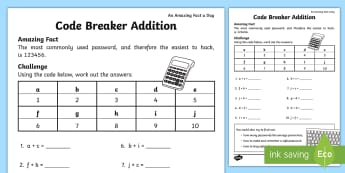 Code Breaker Addition Activity Sheet - Amazing Fact Of The Day, activity sheets, amazing fact a day april, Worksheet, powerpoint, starter,