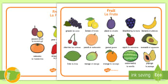 Fruit Word Mats English/Spanish - Fruit word mat, fruit words, word mat, Foundation stage, apple, orange, satsuma, pear, banana, tange