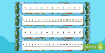 Sea Bucket Number Lines Pack Up to 30 - sea bucket, billy's bucket, number lines, up to 30, pack, maths, mathematics, numeracy, numbers, story book