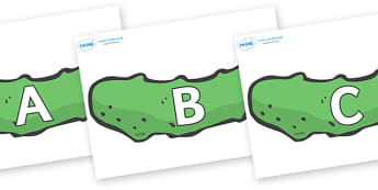 A-Z Alphabet on Pickles to Support Teaching on The Very Hungry Caterpillar - A-Z, A4, display, Alphabet frieze, Display letters, Letter posters, A-Z letters, Alphabet flashcards