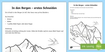 In den Bergen Arbeitsblatt: Erstes Schneiden und Kleben - Sommer, Berge, schneiden, kleben, Linien, Schere, Kl.1/2, summer, mountains, cutting, glueing, lines