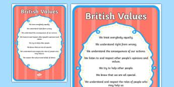 British Values Poster - british, values, display poster, display