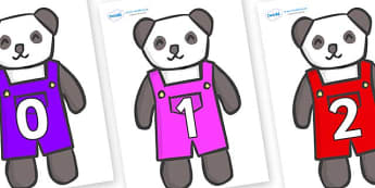 Numbers 0-100 on Panda Bears - 0-100, foundation stage numeracy, Number recognition, Number flashcards, counting, number frieze, Display numbers, number posters