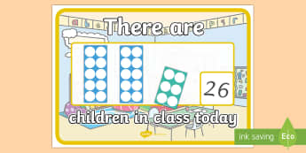 There are Children in Class Today with Number Shapes A4 Display Poster - display, numicon, number shape, classroom organisation, safeguarding, numeracy display, how many in