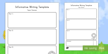 Summer Topic Informative Writing Template - Summer, Graphic Organizer, Informative Writing, Explanatory Writing, Common Core, ELA