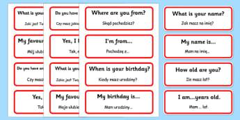 Basic Phrases Word Cards Polish Translation - polish, basic, phrases, word cards, cards