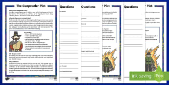 KS1 The Gunpowder Plot Differentiated Reading Comprehension Activity