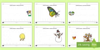 Elemente grafice pe tema celor patru anotimpuri Fișe de activitate - motricitate fină, elemente grafice, controlul creionului, scriere, început de an școlar,Romanian