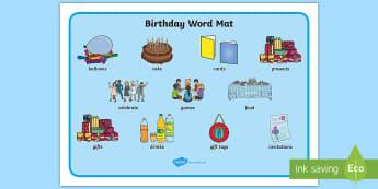 Birthday Word Mat - birthday, word mat, word, mat, party, celebrate