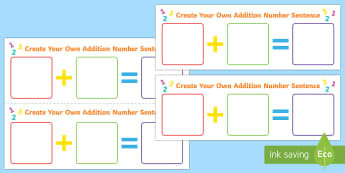 Create Your Own Addition Number Sentence Worksheet / Activity Sheet - Using quantities and objects, add and subtract two single-digit numbers, count on or back to find th
