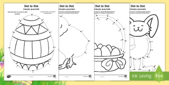 Easter Dot to Dot Activity Sheets English/Romanian - EYFS, Early Years, KS1, Easter, Easter Bunny, chicks, Easter eggs, number recognition, numbers to 10