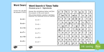 Multiplication 6 Times Tables Word Search Activity Sheet English/Polish - Multiplication 6 Times Tables Wordsearch Worksheet - multiplication, 6 times tables, wordsearch, wor