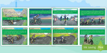 Tour de France Maths Challenge Cards - sports, event, French, bike race, cycling, numbers, reading comprehension