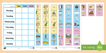 Chore Chart for Home Poster - chores, daily activities, helping, home life, rota