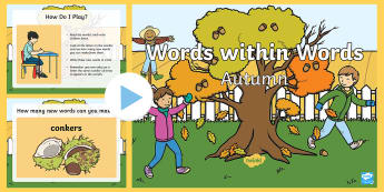 KS1 Autumn Words Within Words PowerPoint - spellings, patterns, language, Seasons, Autumnal