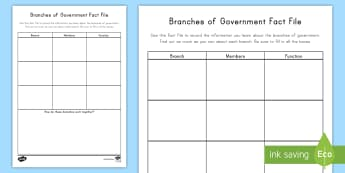Branches of Government Fact File Activity Sheet - Branches Of Government, US Government, Federal Government, Judicial Branch, worksheet, Legislative B