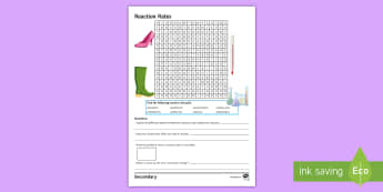 Reaction Rates Word Search - activation energy, endothermic, exothermic, equilibrium, collision theory