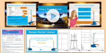Y7 Introduction to Science - Lesson 3 Using a Bunsen Burner Lesson Pack - practical, licence, bingo, safety, flame, equipment, laboratory, lab