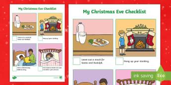 Christmas Eve Checklist - Xmas, 24th December, Christianity, Jesus Birthday, Presents