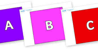 A-Z Alphabet on Squares - A-Z, A4, display, Alphabet frieze, Display letters, Letter posters, A-Z letters, Alphabet flashcards