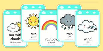 Weather Flashcards Arabic Translation - arabic, weather, flashcards, flash, cards