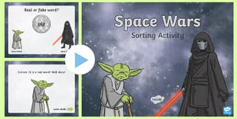 Phase 2 Nonsense or Real Words Space Wars PowerPoint Game - space wars, star wars, phonics, phase two, reading, cvc, alien words, real or nonsense,game,phonics