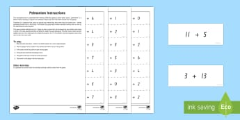 Memory Addition Facts Game - New Zealand, maths, adding, addition, numbers to 20, Years 1-3, age 5, age 6, age 7, memory, game, p