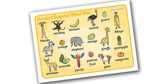 Handa's Surprise Word Mat (Images) - Handa's Surprise, Eileen Browne, resources, Handa, Akeyo, mango, guava, Africa, avacado, passion fruit, monkey, African animals, story, story book, story book resources, story sequencing, story resources, word mat