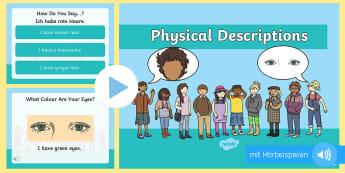 Personen beschreiben PowerPoint Präsentation - Englisch, Englischunterricht, Beschreibung, Aussehen, Leute, Haare, Augen, Gesicht