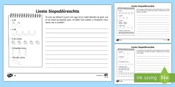 Bileoga Oibre: Liosta Siopadóireachta - Multiplication, iolrú, multiply, iolraithe de, times, lots of, a lán, times tables, táblaí iolra