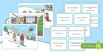 Winter Scenes and Question Cards English/Hindi - winter scenes, question cards, kids, games, snow, ski, Christmas, gifts, snowman