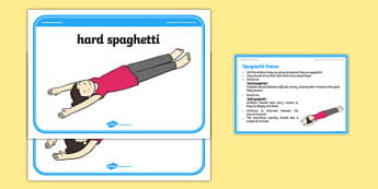 Foundation PE (Reception) Spaghetti Game Cool-Down Activity Card - physical activity, foundation stage, physical development, games, dance, gymnastics