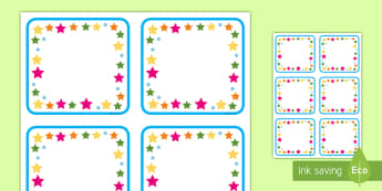 Multicolored Stars Square Editable Drawer, Peg, Name Labels - multicolored, labels, name tags, stars