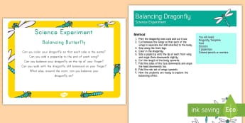 Balancing Dragonfly Science Experiment and Prompt Card Pack - science, balance, dragonfly, experiment, craft, forces, nature, animals, paper craft