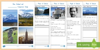 New Zealand and Another Country Comparison Study Activity Booklet - New Zealand, Countries, Milford Sound, THe Beehive, Aoraki, Mount Cook, Michael Joseph Savage, Sir A