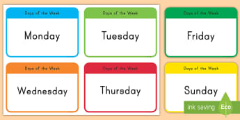 Days of the Week Flashcards - flashcards, day, week, monday, friday, recognition, key words, vocabulary, spelling, word work,