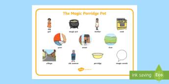 The Magic Porridge Pot Word Mat - magic, porridge, pot, little girl, lady, magic pot, word mat, writing aid, mat, cook, magic words